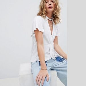 Free People just A twist Tee Top White NWT